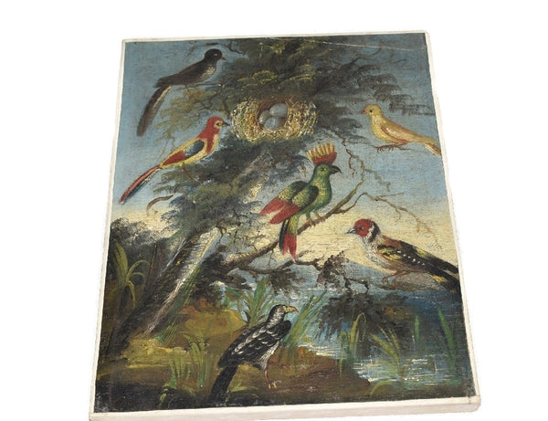 Folk Art Painting Birds of Paradise 19th Century in Gilt Frame - Premier Estate Gallery 4