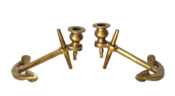 Solid Brass Anchor Candlestick Holders Vintage Coastal Decor - Premier Estate Gallery 3