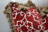 Vintage Designer Brocade Crimson Throw Pillows Cases with Tassels & Down Feather Pillows