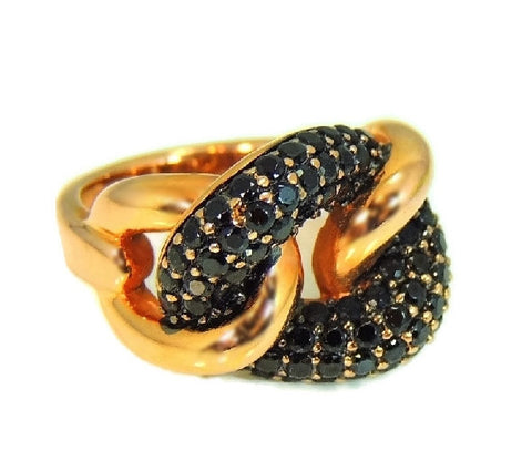 Rose Gold Love Knot Ring with Pave Black Spinels Milor Italy - Premier Estate Gallery - 1