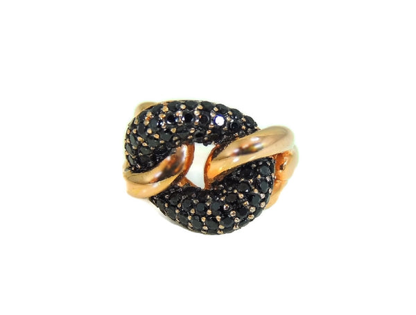 Bronze Love Knot Ring with Pave Sapphires Contemporary Vintage Italy - Premier Estate Gallery  - 3