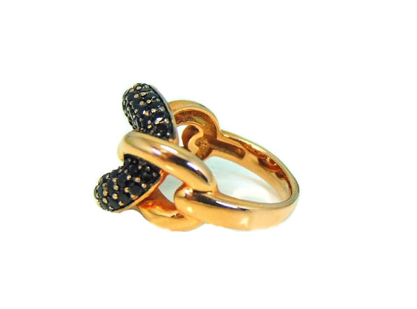 Bronze Love Knot Ring with Pave Sapphires Contemporary Vintage Italy - Premier Estate Gallery  - 4