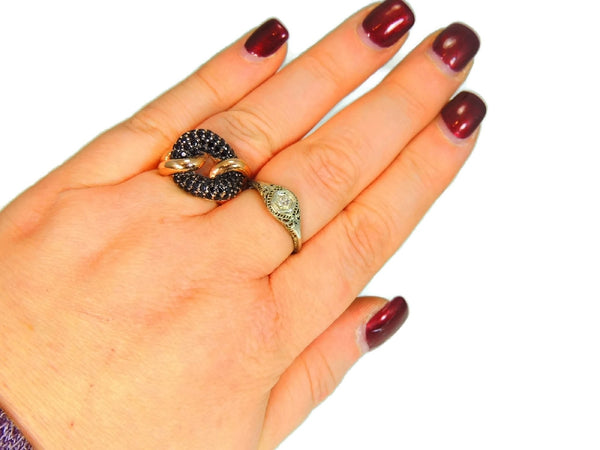 Rose Gold Love Knot Ring with Pave Black Spinels Milor Italy