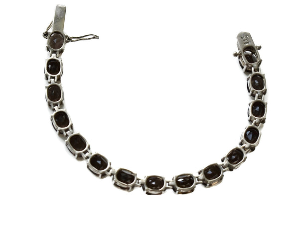 Sterling Silver Brown Quartz Tennis Bracelet 28.65 ctw