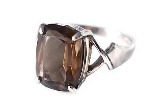 Silver Smoky Brown Quartz Ring 6.71 cts - Premier Estate Gallery
