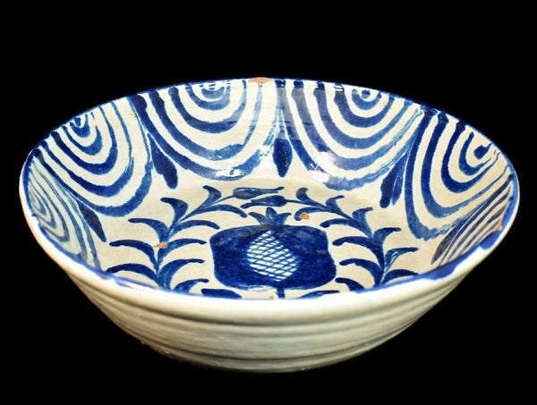 Spanish Earthenware with Tin Glaze Basin  Rare Pattern Earth 19th Century - Premier Estate Gallery