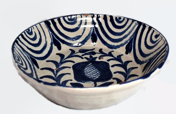Antique Tin Glaze Stoneware Bowl Blue and White Granada Spain c1800 - Premier Estate Gallery
