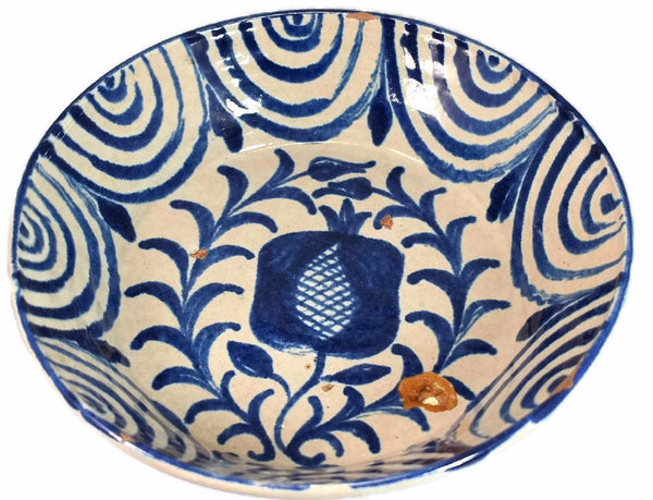 Grenadino Tin Glaze Earthenware Stoneware Basin 19th Cent  Rare Blue White Pattern  - Premier Estate Gallery