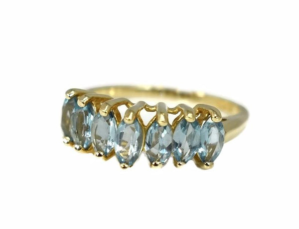 Blue Topaz 10k Gold Ring Seven Marquise Stones December Birthstone