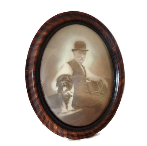 Antique Photo in Grain Painted Bubble Glass Frame Man with Dog - Premier Estate Gallery  - 1