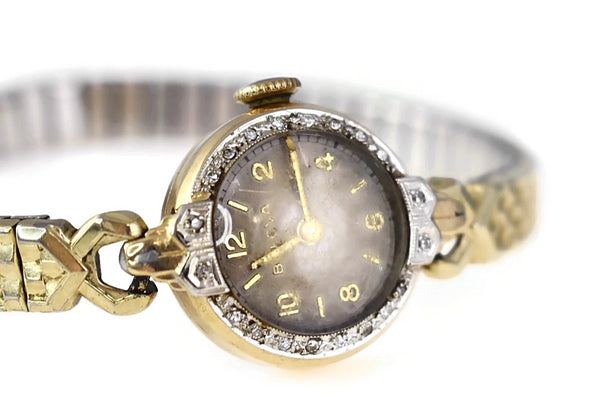 Vintage Bulova 14k Gold Diamond Ladies Watch Dated 1949 Needs TLC