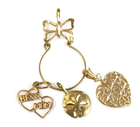 14k Butterfly Charm Holder with Mom Charms Vintage - Premier Estate Gallery