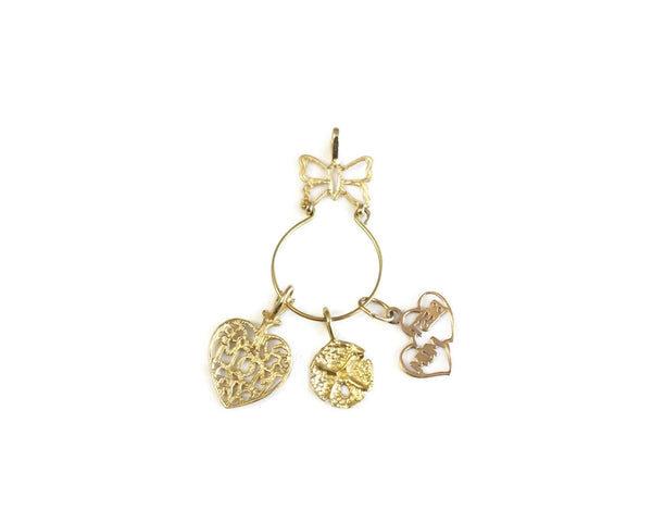 14k Butterfly Charm Holder with Mom Charms Vintage