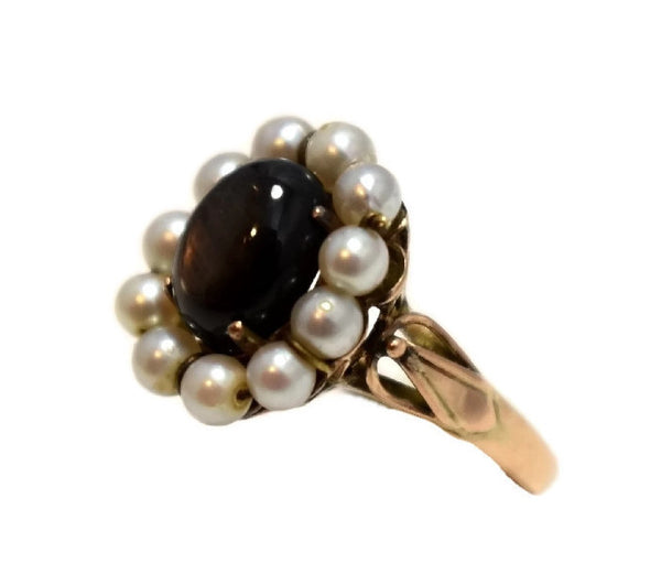 14k Rose Gold Art Nouveau Black Star Sapphire Ring - Premier Estate Gallery