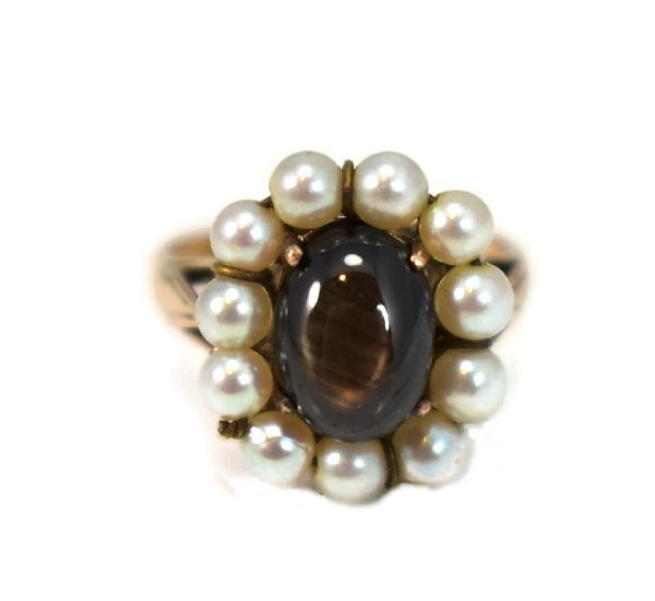 14k Rose Gold Art Nouveau Black Star Sapphire Ring - Premier Estate Gallery 2