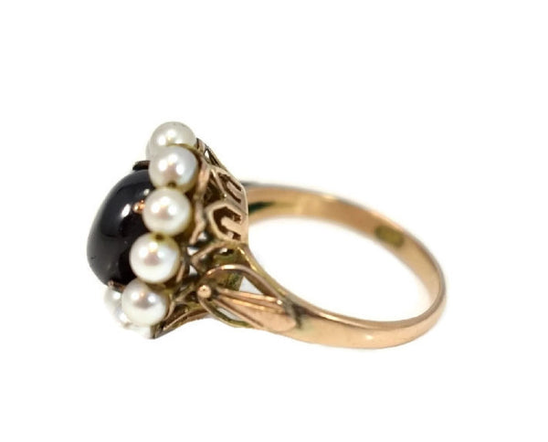 14k Rose Gold Art Nouveau Black Star Sapphire Ring