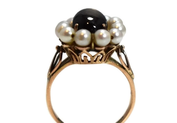 14k Rose Gold Art Nouveau Black Star Sapphire Ring - Premier Estate Gallery 3