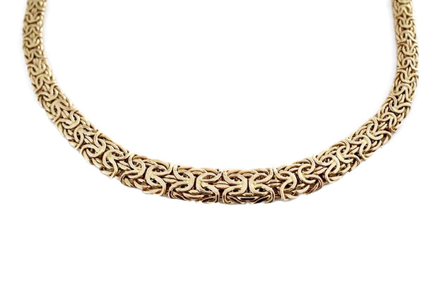 Vintage 14k Gold Byzantine Necklace Wide Heavy Link - Premier Estate Gallery 4