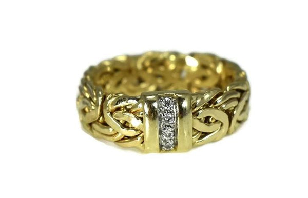 Vintage 14k Byzantine Diamond Wedding Ring, Gold Diamond Wedding Band - Premier Estate Gallery 2