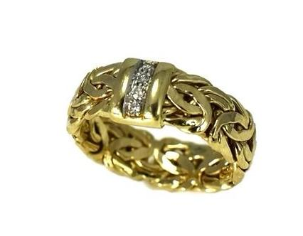 Vintage 14k Byzantine Diamond Wedding Ring, Gold Diamond Wedding Band