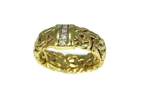 Vintage 14k Byzantine Diamond Wedding Ring, Gold Diamond Wedding Band - Premier Estate Gallery 3