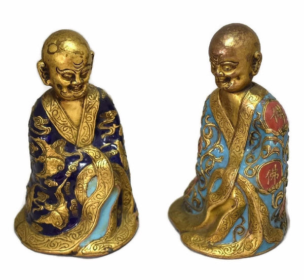 Chinese Luohan Arhat Gilt and Champleve Enamel Figures 18th 19th Century