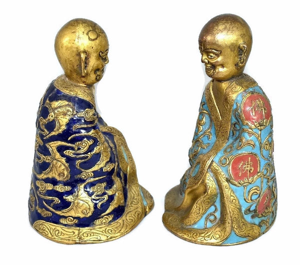 Chinese Luohan Gilt and Champleve Enamel Figures 18th 19th Century - Premier Estate Gallery 2