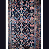 Estate Antique Persian Malayer Rug Runner Hand Knotted Coral Navy Periwinkle c1920 - Premier Estate Gallery 2
