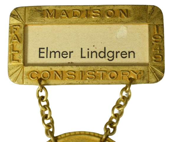 Vintage Brass Masonic Medal Madison WI Consistory 32nd 33rd Degree Scottish Rite - Premier Estate Gallery 3