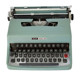 1971 Olivetti Lettera 32 Portable Typewriter w Case Turquoise Blue CLEAN Barcelona Spain - Premier Estate Gallery  2