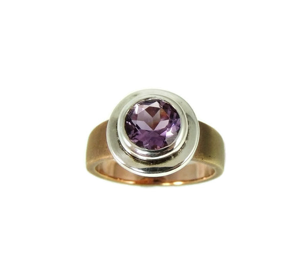 Amethyst Ring Bezel Set Sterling Silver and Rose Gold Plate - Premier Estate Gallery  - 2