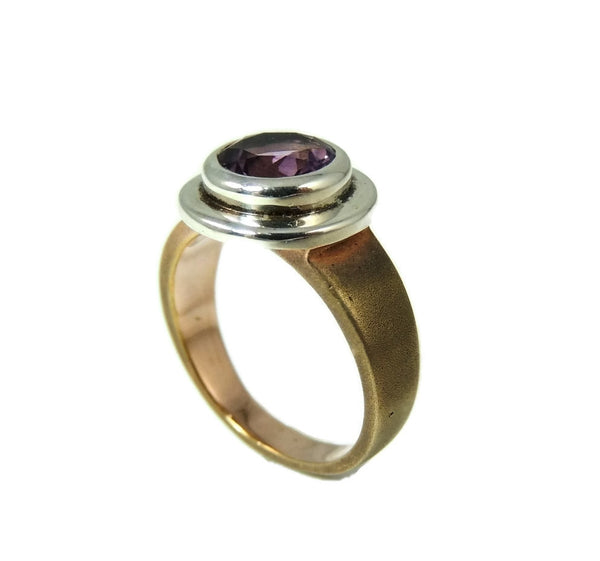 Amethyst Ring Bezel Set Sterling Silver and Rose Gold Plate - Premier Estate Gallery  - 3