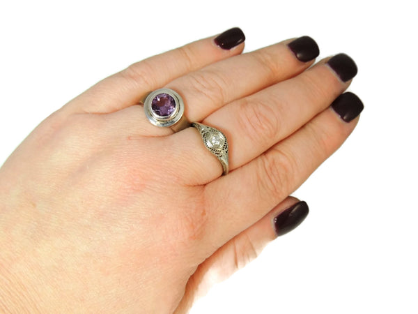 Amethyst Ring Bezel Set Sterling Silver and Rose Gold Plate - Premier Estate Gallery  - 5