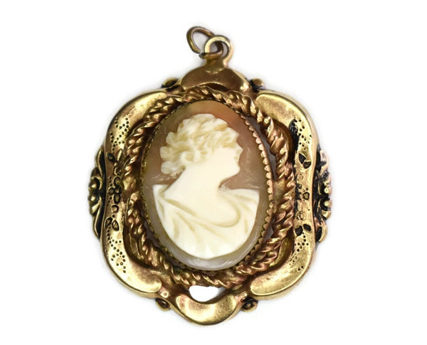 Victorian 10k Gold Shell Carved Cameo Pendant - Premier Estate Gallery