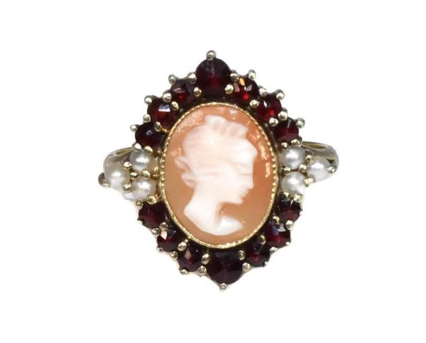 Antique 14k Cameo Ring with Seed Pearl and Garnets - Premier Estate Gallery 2