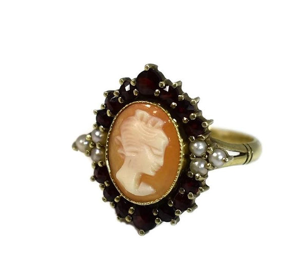 Antique 14k Cameo Ring with Seed Pearl and Garnets - Premier Estate Gallery