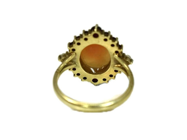 Antique 14k Cameo Ring with Seed Pearl and Garnets