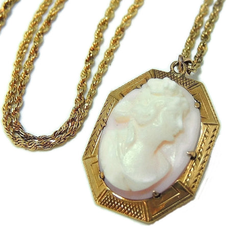 Antique Pink Coral Cameo Pendant 10k Gold w 14k Gold Chain - Premier Estate Gallery  - 1