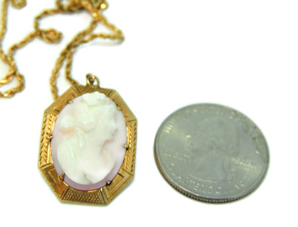 Antique Pink Coral Cameo Pendant 10k Gold w 14k Gold Chain - Premier Estate Gallery  - 2