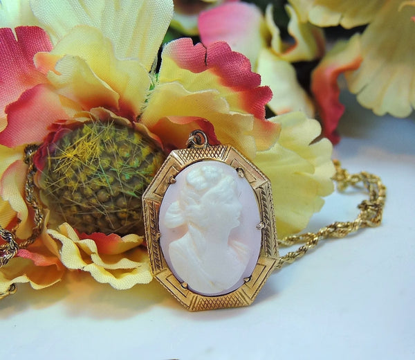 Antique Pink Coral Cameo Pendant 10k Gold w 14k Gold Chain - Premier Estate Gallery  - 4