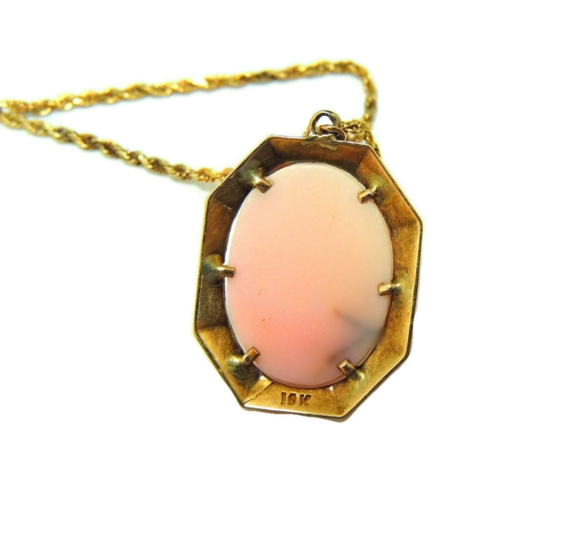 Antique pink cameo pendant 10k gold w 14k gold chain premier antique pink coral cameo pendant 10k gold w 14k gold chain premier estate gallery aloadofball Choice Image