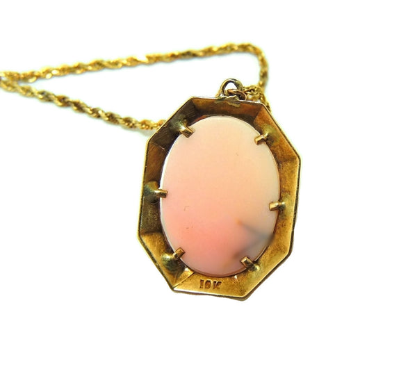 Antique Pink Coral Cameo Pendant 10k Gold w 14k Gold Chain - Premier Estate Gallery  - 5