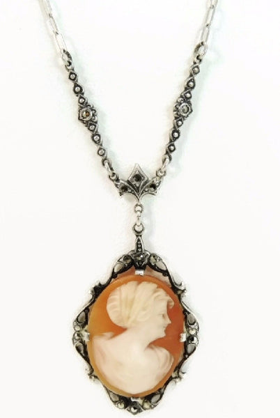 Antique Nouveau Cameo Necklace Sterling Silver Marcasite Ornate - Premier Estate Gallery  - 1