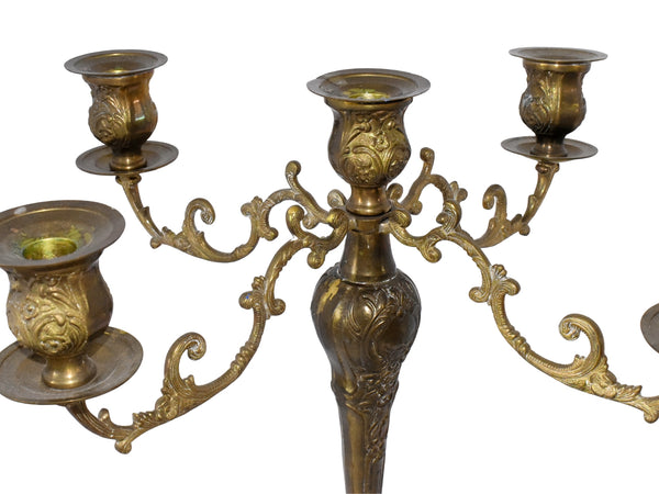 5 Arm Candelabra Brass Finish Weighted Ornate Baroque Style - Premier Estate Gallery 1
