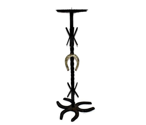Vintage Western Iron Horseshoe Candlestand, Pillar Candle Holder - Premier Estate Gallery