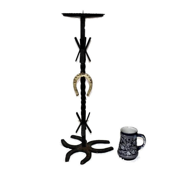 Vintage Western Iron Horseshoe Candlestand, Pillar Candle Holder - Premier Estate Gallery 2