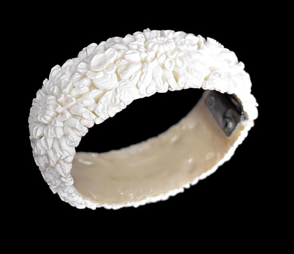 Victorian Style Carved Celluloid Bangle Bracelet Romantic Vintage  - Premier Estate Gallery - Premier Estate Gallery