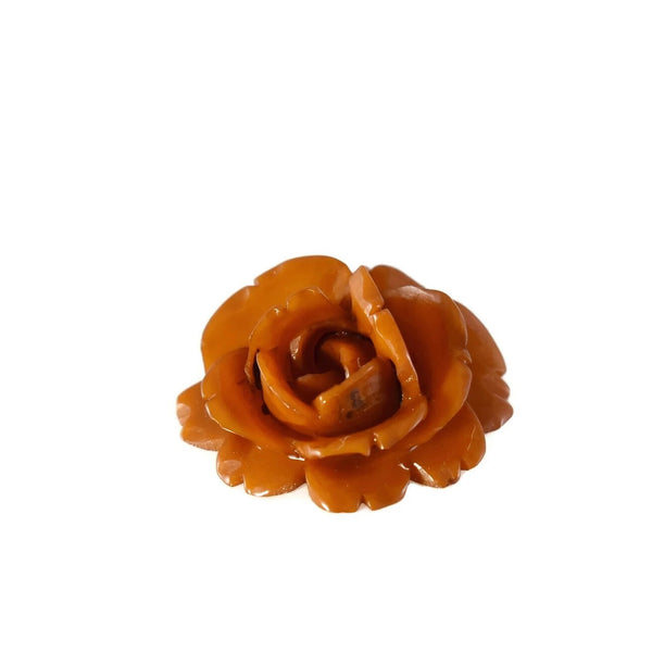 Vintage Butterscotch Carved Bakelite Rose Pendant - Premier Estate Gallery