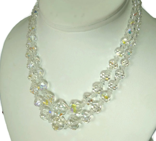 1950s Double Strand Crystal Bead Necklace Faceted Iridescent Beads - Premier Estate Gallery  - 2