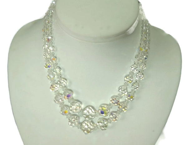 1950s Double Strand Crystal Bead Necklace Faceted Iridescent Beads - Premier Estate Gallery  - 3